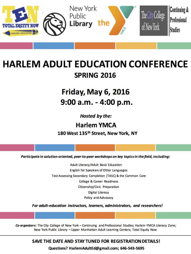Harlem Adult Education Conference_Flyer_Spring 2016_Save The Date_FINAL