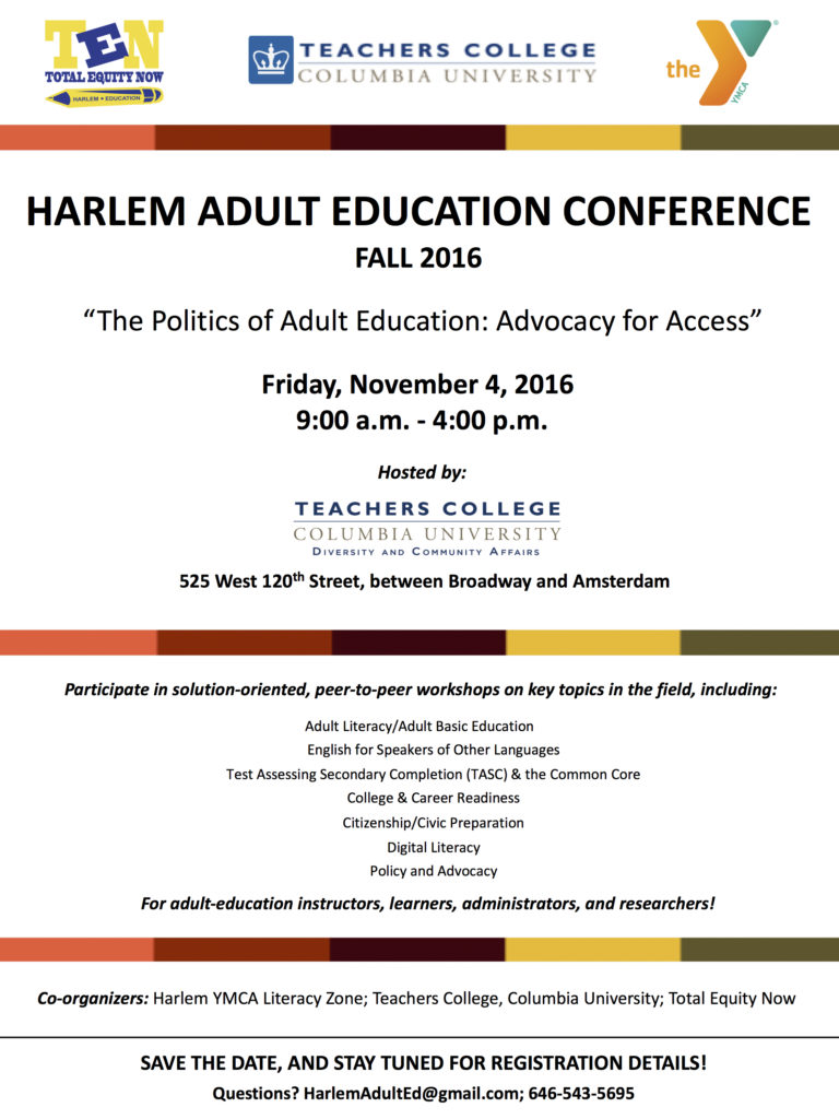 Harlem Adult Education Conf Flyer_Fall 2016_Save The Date_9.06.16